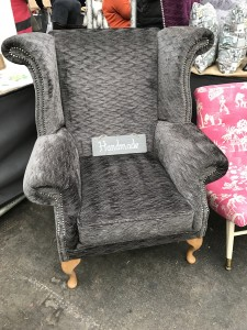 wingback armchair in velvet