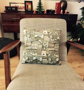 yellow  and grey Manchester cushion