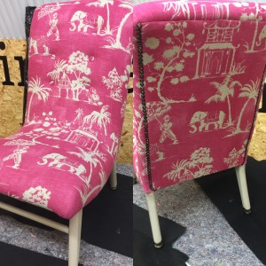 Pink upcycled cocktail chair