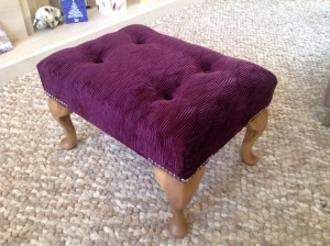 Small Queen Anne footstool in purple textured velvet