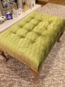 Large Queen Anne footstool in gold textured velvet