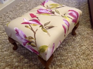 Small Queen Anne footstool in magnolia fabric