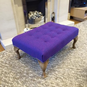 Large Queen Anne footstool in Harris tweed