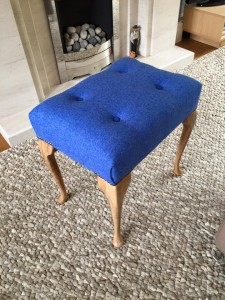 Dressing table stool in Harris tweed