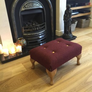 Small Queen Anne footstool in Harris tweed