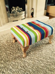 Small Queen Anne footstool in stripes