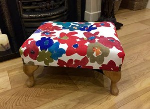 Small Queen Anne footstool in colour splash