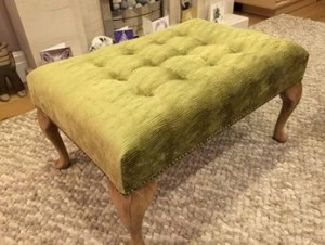 Large Queen Anne footstool in pistachio textured velvet