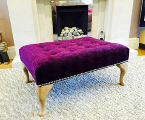 Beautiful large Queen Anne footstool in purple velvet
