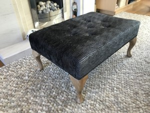 large charcoal grey footstool